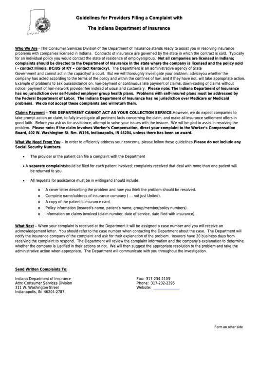 Fillable Provider Complaint Form - Indiana Department Of ...