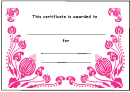 Pink Flowers Certificate Template