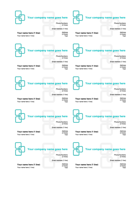 Turquoise Business Cards Template
