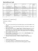 Pub Golf Score Card Template