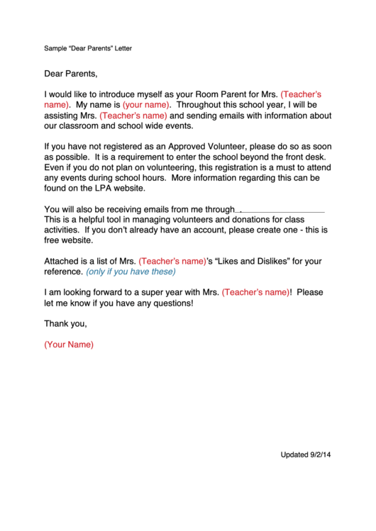 Teacher Letter To Parents Template - Sample