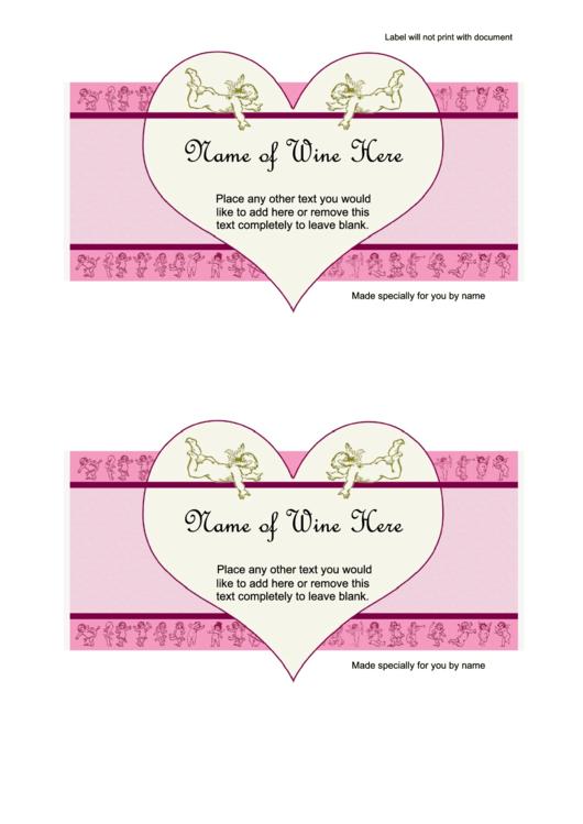 Wine Label Heart Template Printable pdf