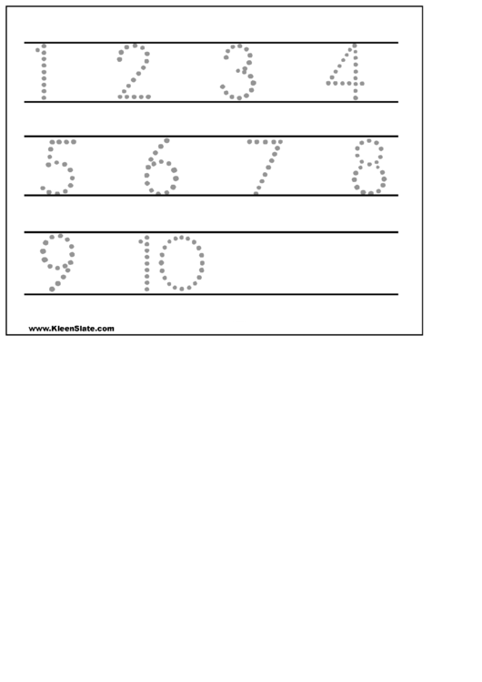 1-10 Number Tracing Sheet