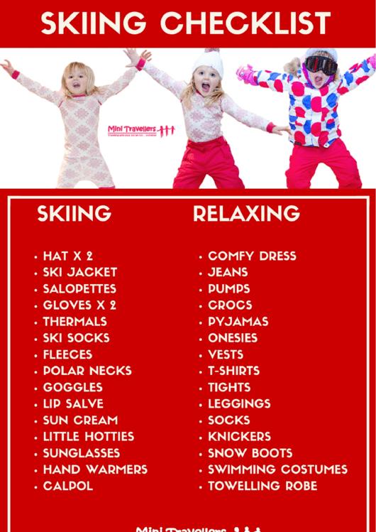 Skiing Vacation Check List