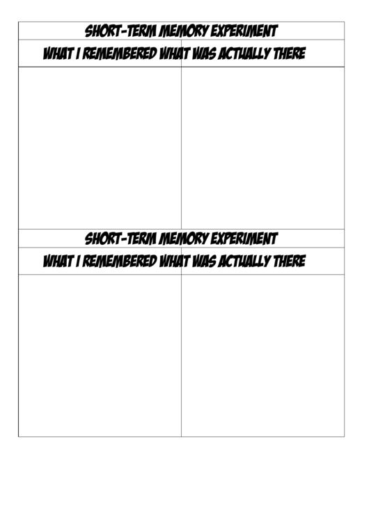 Blank Short-Term Memory Biology Flashcards Template Printable pdf