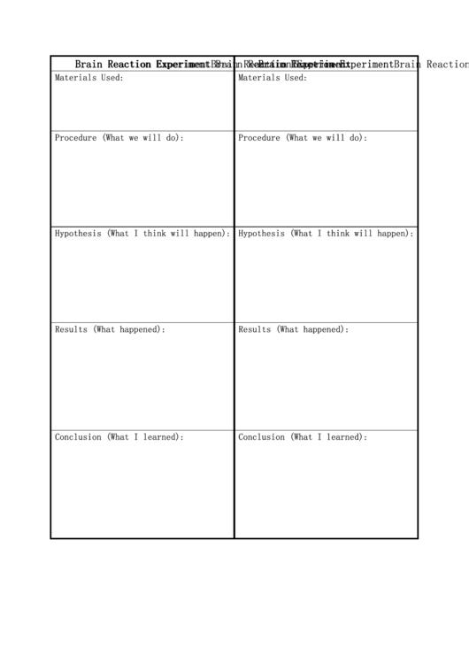 Blank Brain Reaction Experiment Biology Flashcards Template Printable pdf