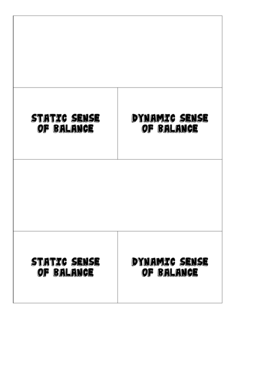 Blank Static And Dynamic Sense Of Balance Biology Flashcards Template Printable pdf