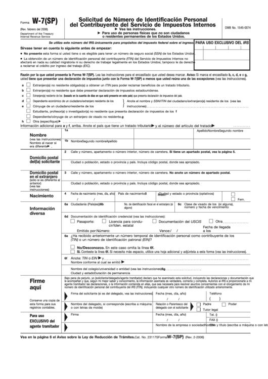 Fillable Formulario W-7(Sp) - Solicitud De Numero De Identificacion Personal Del Contribuyente Del Servicio De Impuestos Internos - 2006 Printable pdf