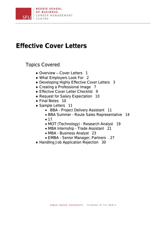 Effective Cover Letters Examples Printable pdf