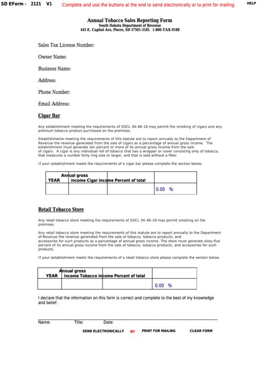 Fillable Form 2121 - South Dakota Annual Tobacco Sales Reporting Printable pdf