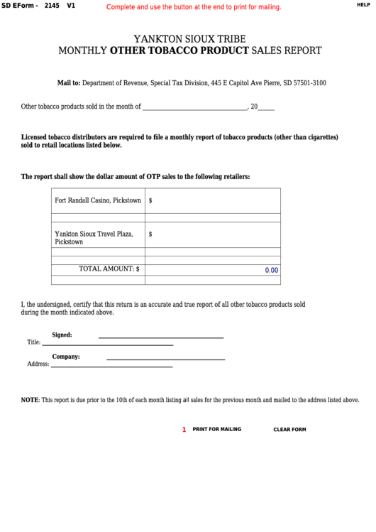 Fillable Form 2145 - South Dakota Yankton Sioux Tribe Monthly Other Tobacco Product Sales Report Printable pdf