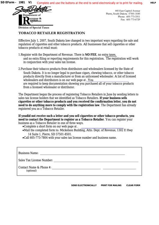 Fillable Form 1981 - South Dakota Tobacco Retailer Registration Printable pdf