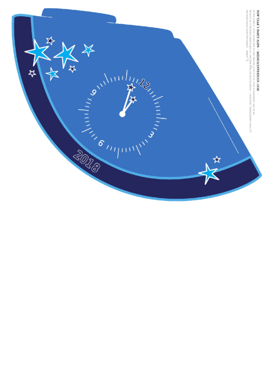 2018 New Year's Eve Party Hat Template In Blue, Purple And Pink