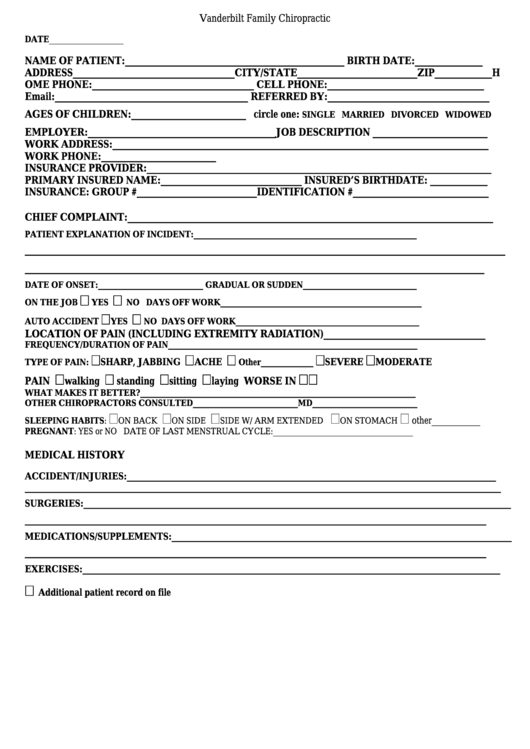 patient intake form vanderbilt family chiropractic printable pdf