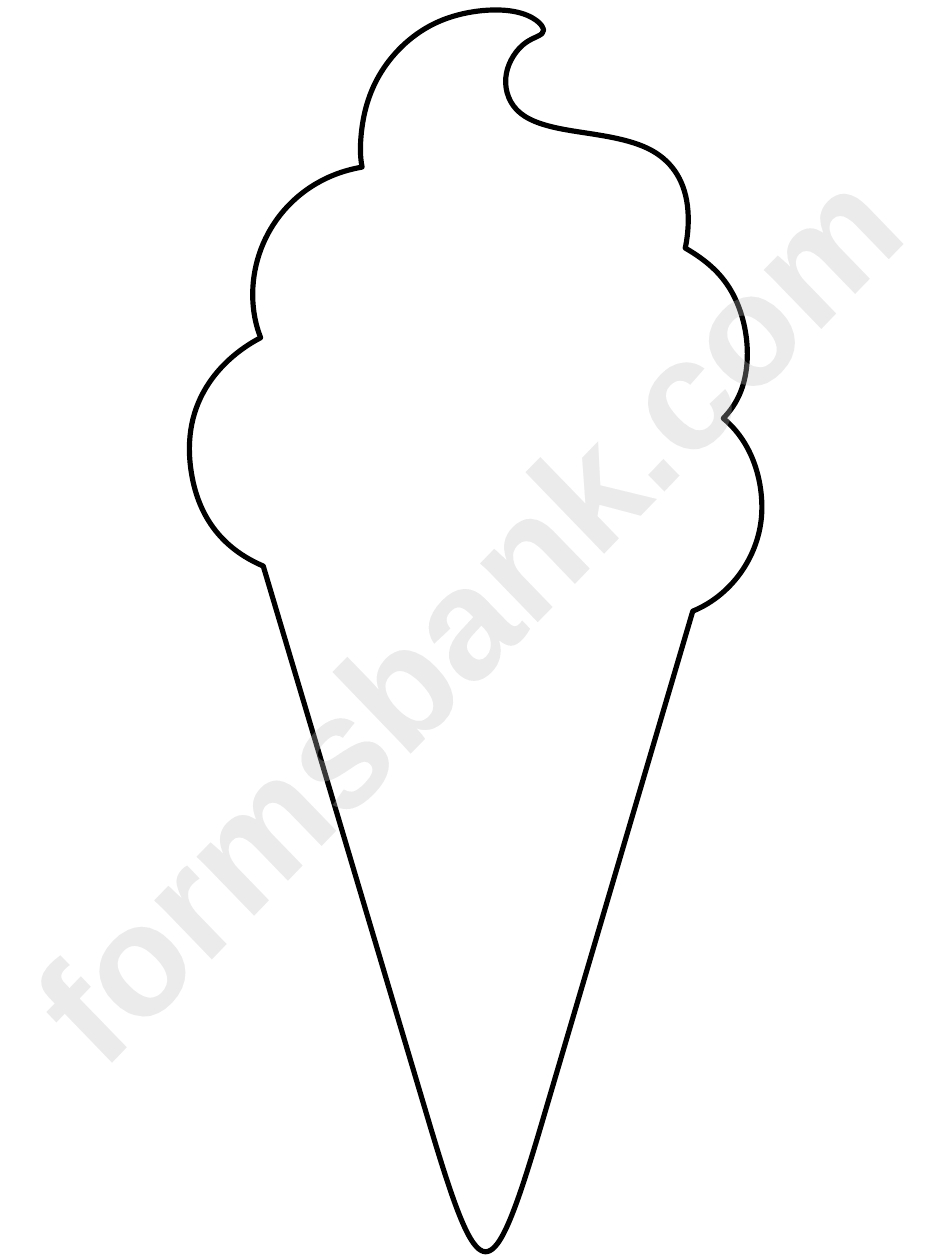 Black And White Ice Cream Cone Template Printable Pdf Download