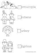 Color And Trace Words Thanksgiving Activity Sheet