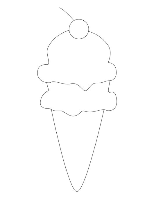 ice cream cone with cherry template printable pdf download