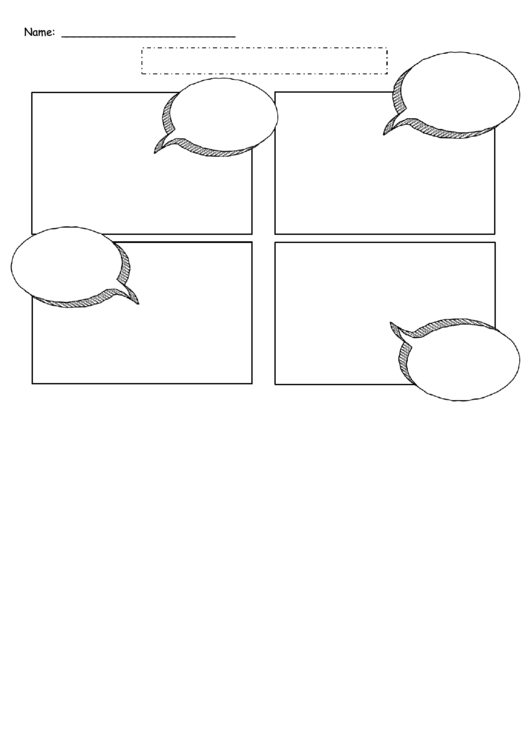4 Boxes Comic Strip Template With Speech Bubbles
