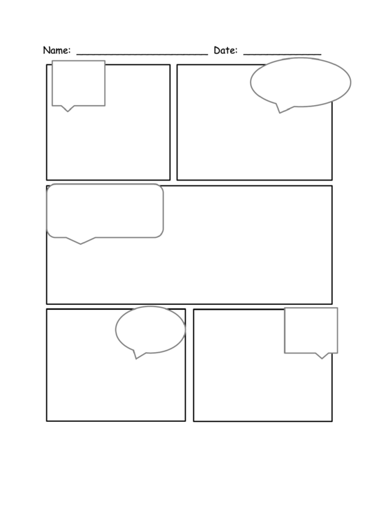 5 Boxes Comic Strip Template With Speech Bubbles