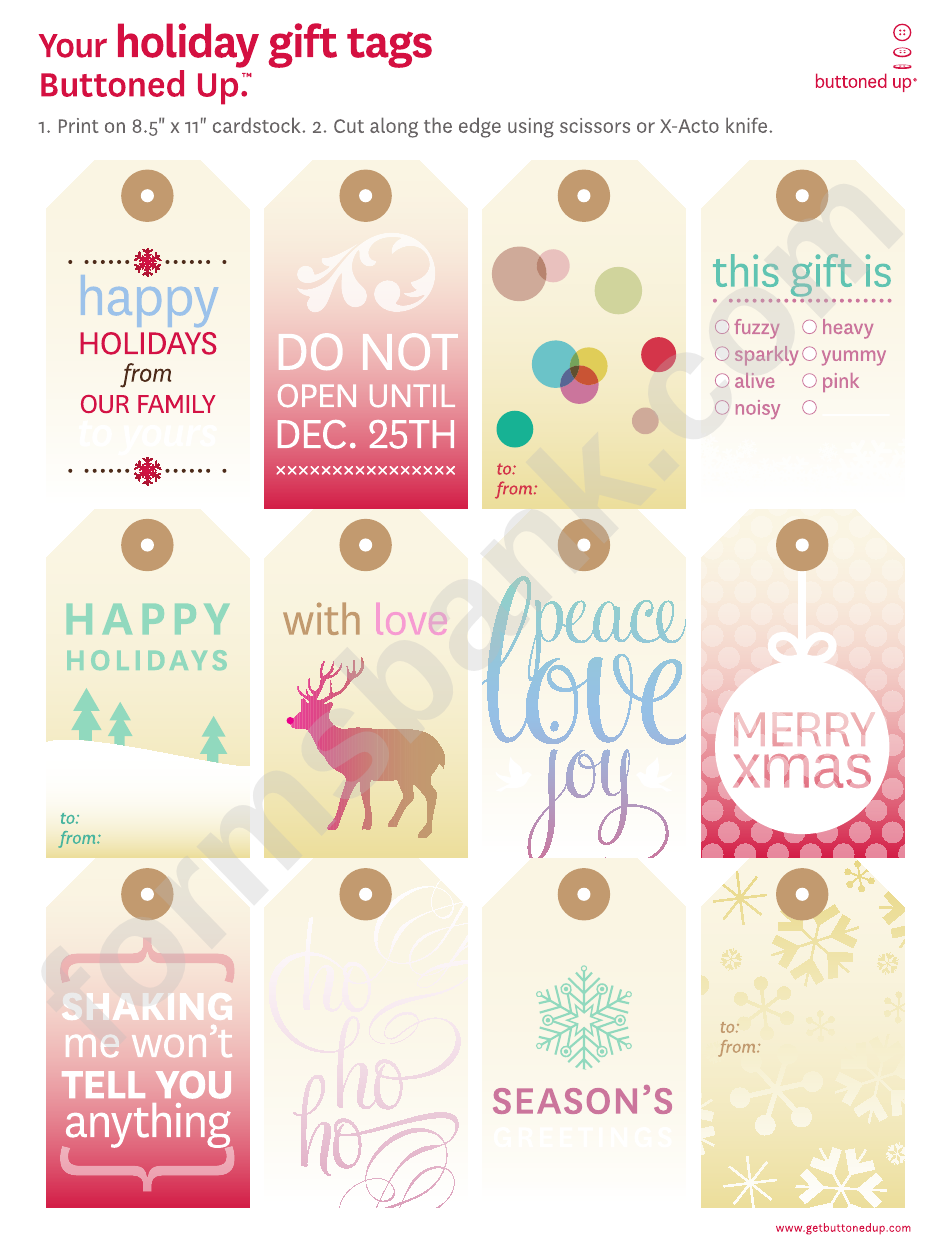 Holiday Gift Tags Template Set