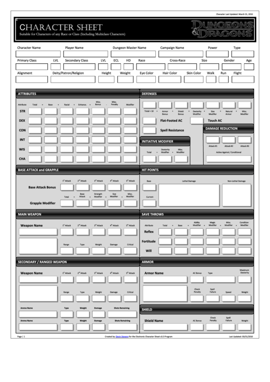 Dungeon & Dragons Character Sheet printable pdf download