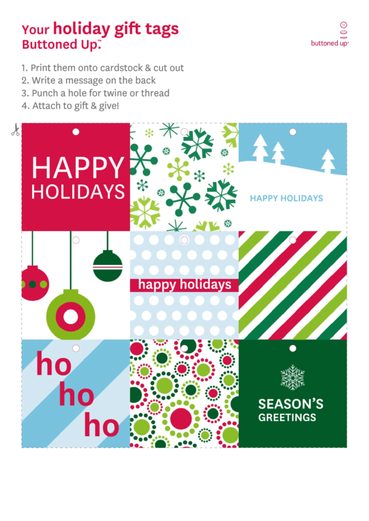 Holiday Gift Tag Template Set Printable pdf