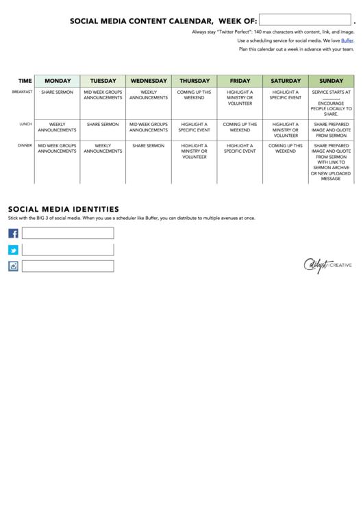 Weekly Social Media Content Calendar Template