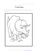 Triceratops Educational Coloring Sheet