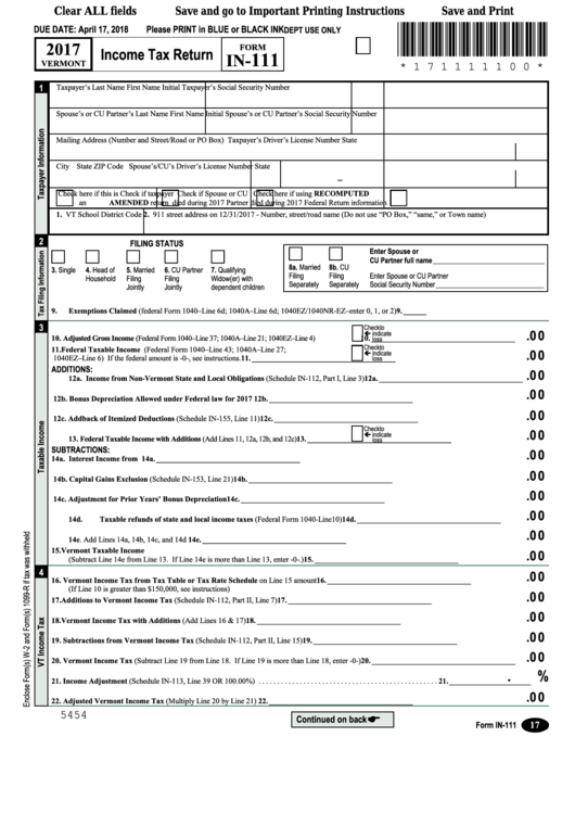 Form In-111 - Income Tax Return - 2017