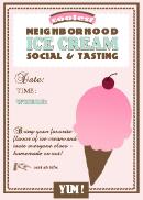 Neighbourhood Ice Cream Tasting Party Invitation Template