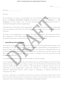 Draft Letter Of Appointment To Independent Director
