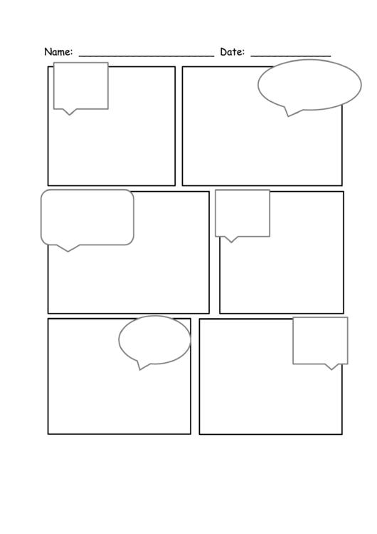 6 Boxes Comic Strip Template