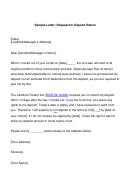 Sample Letter: Request For Deposit Return