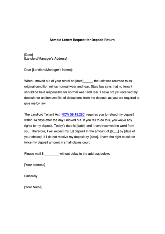 Sample Letter: Request For Deposit Return