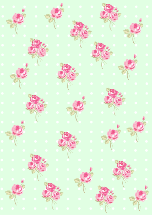 Roses On Green Background With Dots Decorative Paper