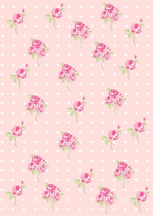 Roses On Pink Background With Dots Decorative Paper