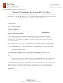 Sample Offer Letter For Internship Providers