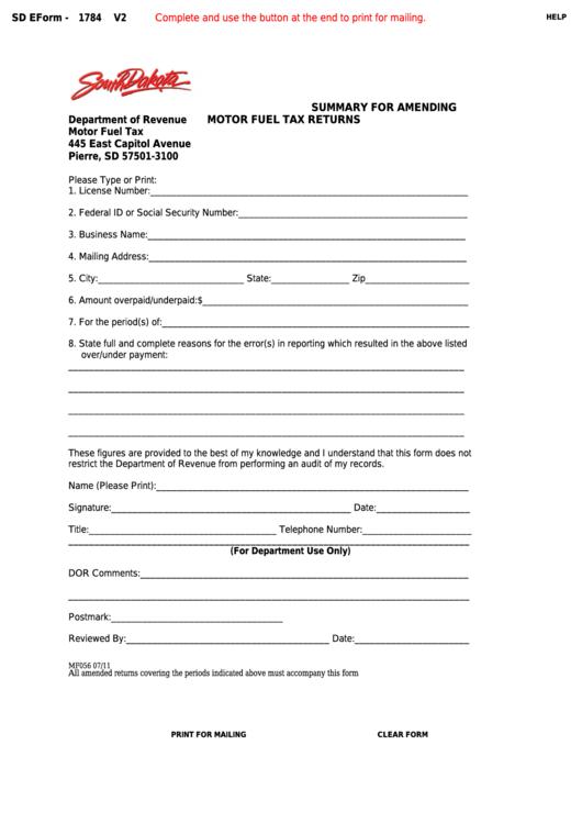 Fillable Form 1784 - South Dakota Summary For Amending Motor Fuel Tax Returns Printable pdf