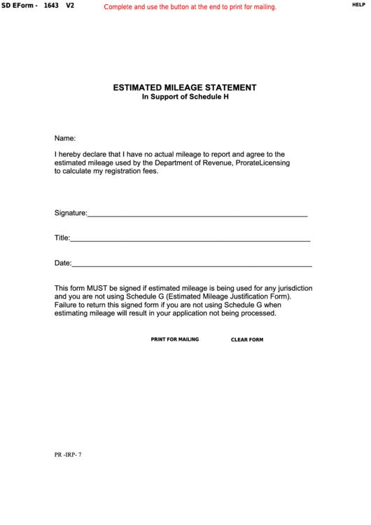 Fillable Form 1643 - South Dakota Estimated Mileage Statement Printable pdf