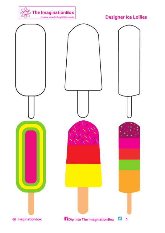 Black And White And Colored Ice Cream Templates Printable pdf