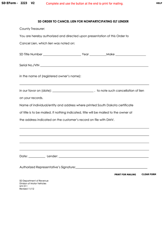 Fillable Form 2223 - South Dakota Order To Cancel Lien For Nonparticipating Elt Lender Printable pdf