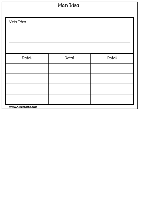 Main Idea Table Template