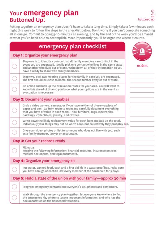 Emergency Plan Checklist Template Printable pdf