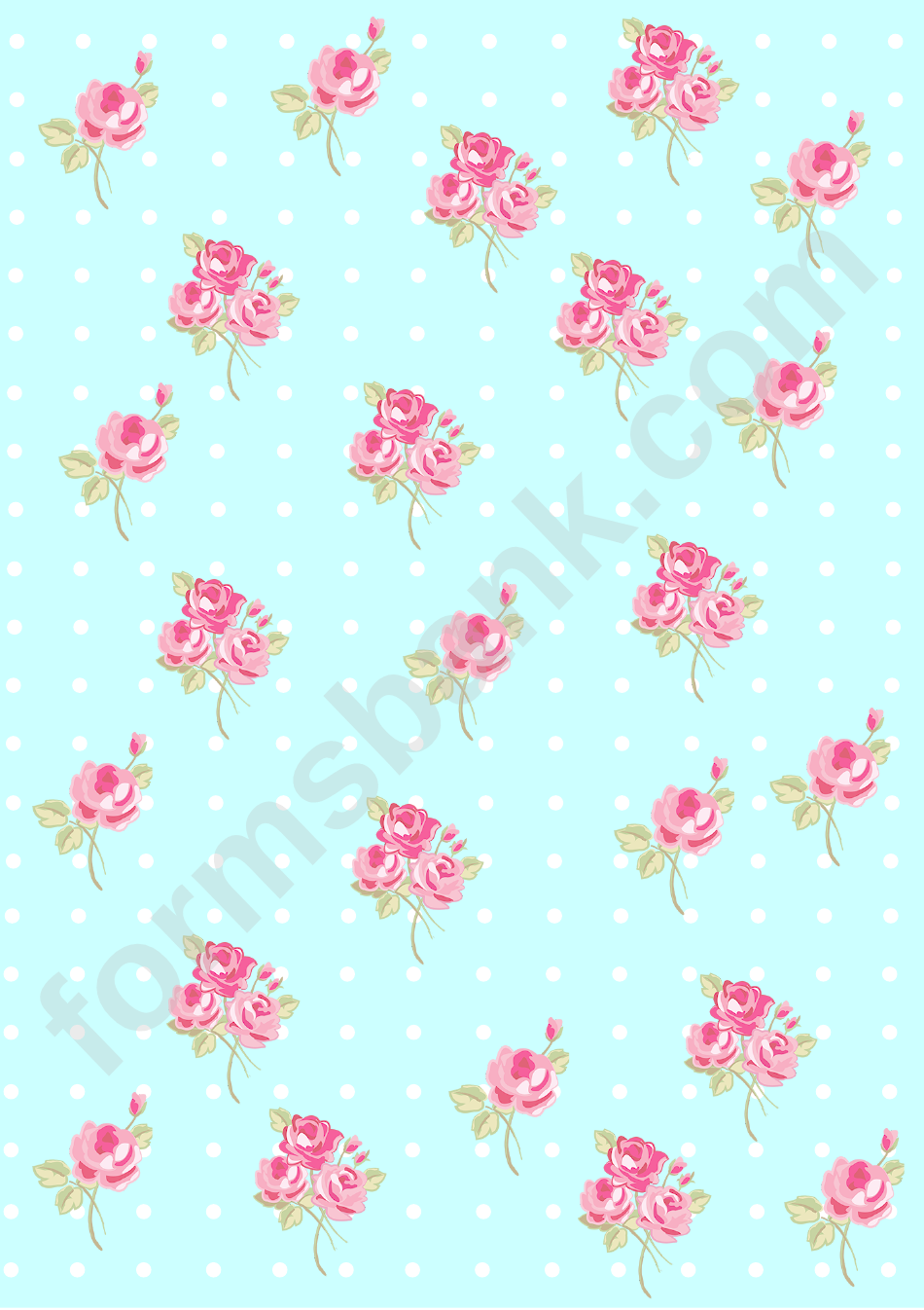 picture about Decorative Paper Printable known as Roses Upon Light-weight Blue Historical past With Dots Ornamental Paper