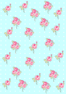 Roses On Light Blue Background With Dots Decorative Paper