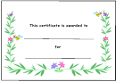 Kids Award Certificate Template - Flowers And Bees
