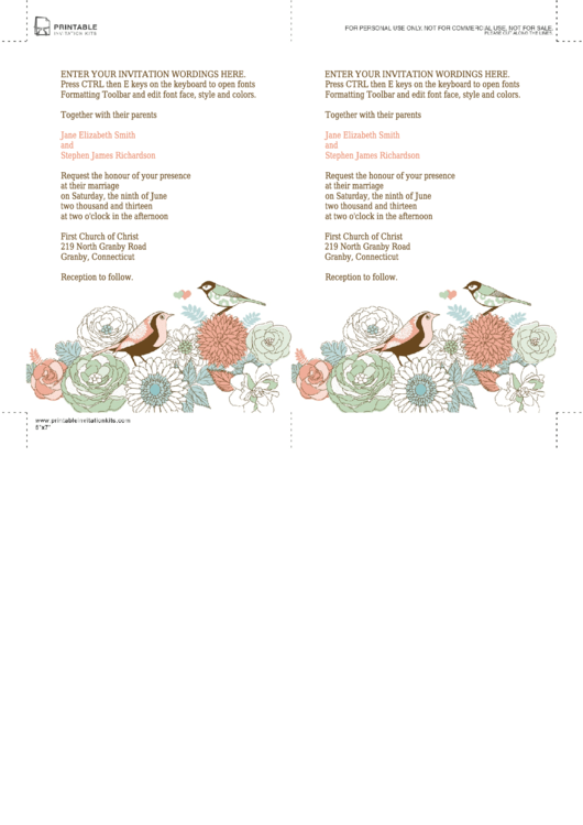 Fillable Birds And Flowers Invitation Template Printable pdf