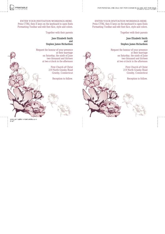 Fillable Purple Flower Event Invitation Template Printable pdf