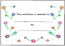 Kids Award Certificate Template - Smal Flowers With Green Leaves