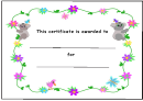 Kids Award Certificate Template - Koalas And Flowers